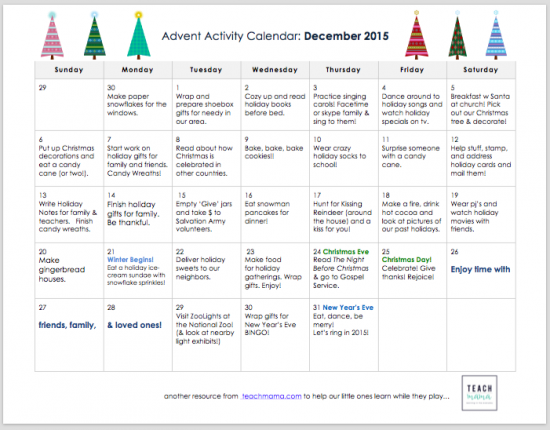advent activity calendar for kids and family | teachmama.com