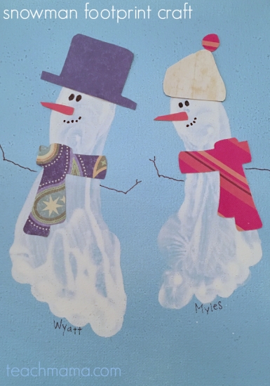 easy snowman footprint craft for kids
