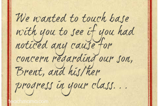 teacher note from parent