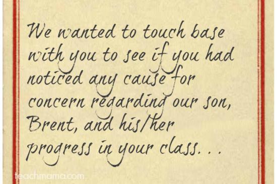 teacher note from parent