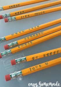 easy homemade stamped pencils plain pencils go from boring to BAM! teachmama.com