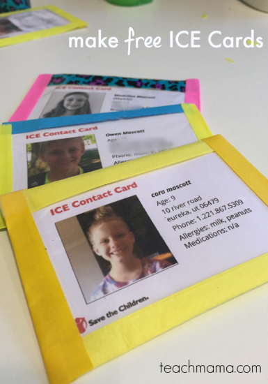 make free ICE [In Case of Emergency] cards for your kids