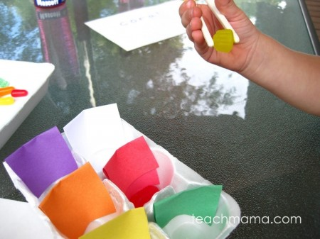 candy colors chopsticks | fine motor foundation fun | teachmama.com