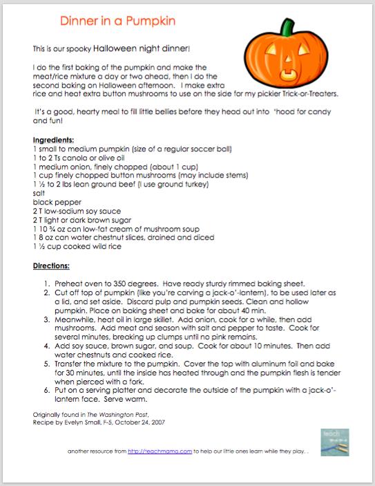 dinner in a pumpkin | teachmama.com