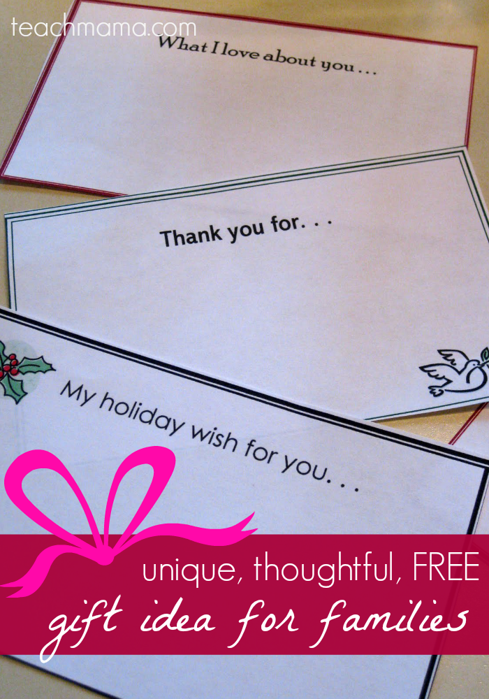 holiday note gift idea for families: unique, thoughtful, free | teachmama.com