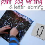 paint bag writing and letter learning teachmama.com