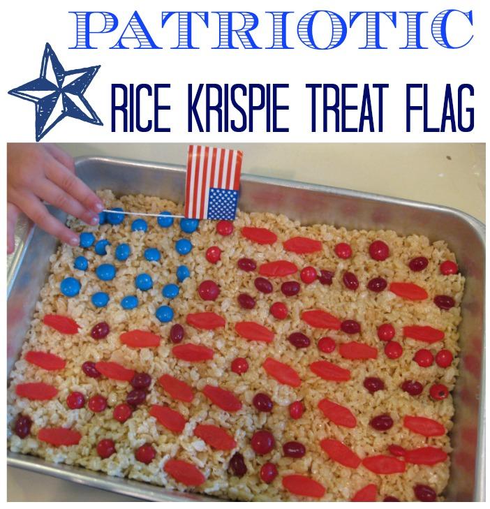 patriotic rice krispie treat flag