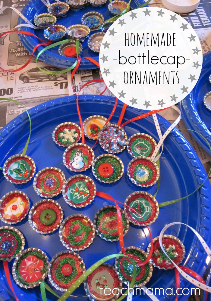 homemade bottlecap ornaments | teachmama.com