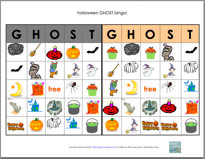halloween bingo ghost bingo teachmamacom - Preschool Halloween Bingo