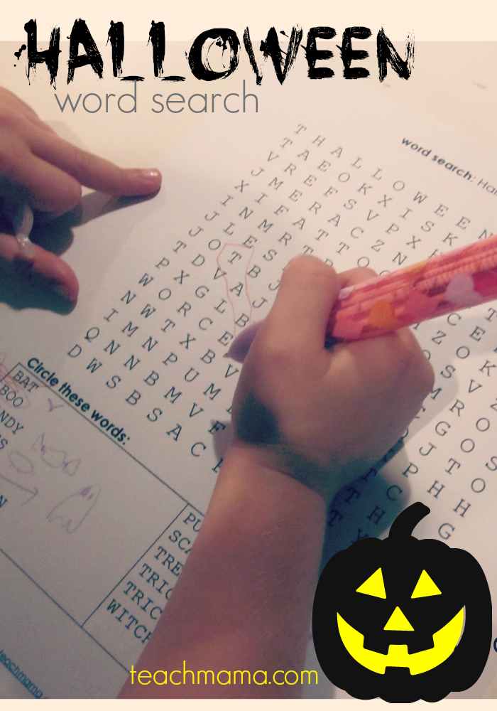 halloween word search teachmama.com