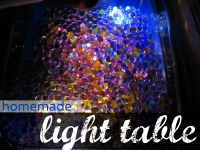 homemade light table, water beads