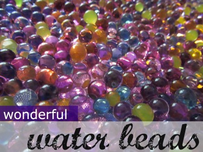 homemade light table, water beads