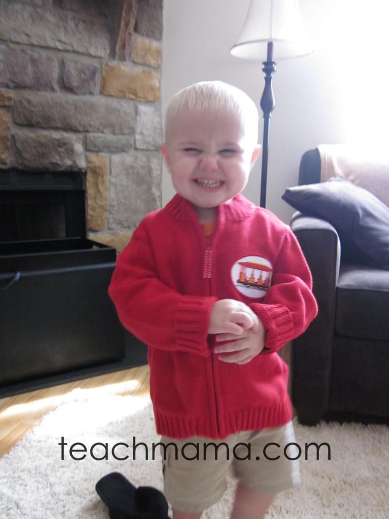 daniel tiger's red sweater on super-cute kid