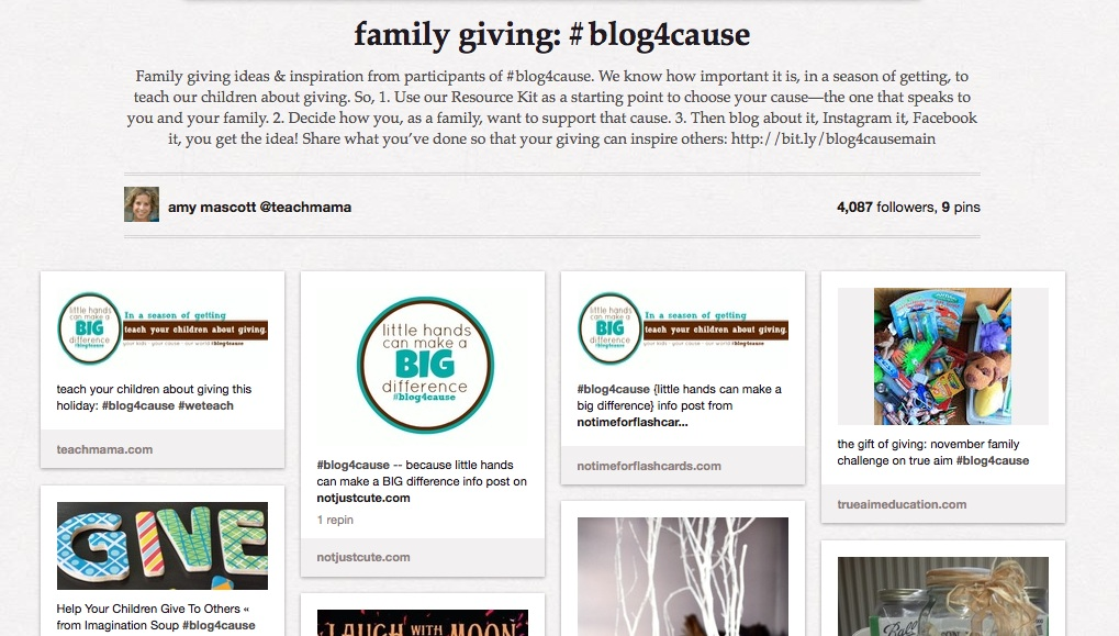 #blog4cause pinterest board