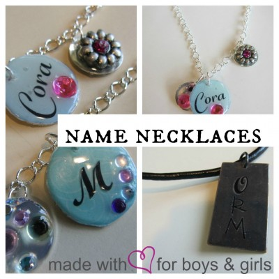 home made name necklaces for girls and boys