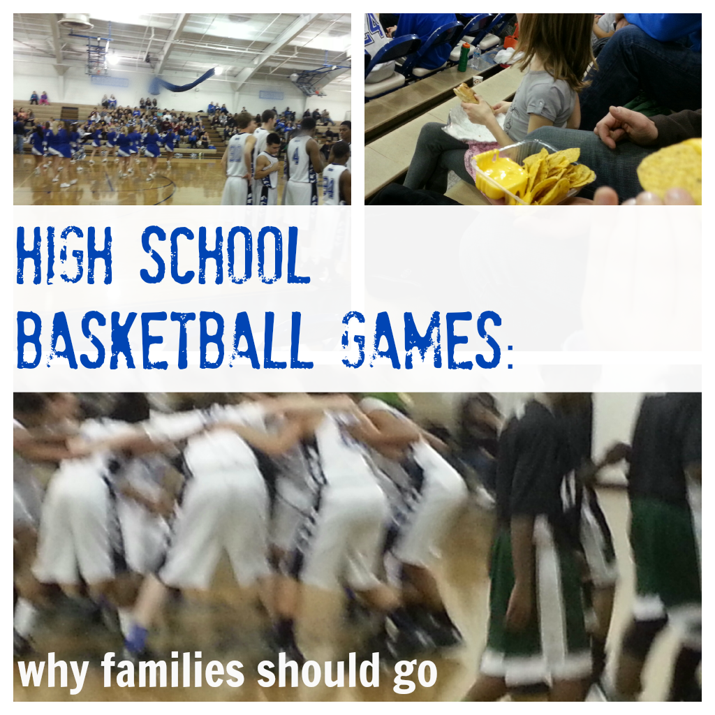 high school basketball game with kids