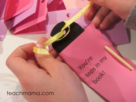 homemade bookmark valentines ribbon