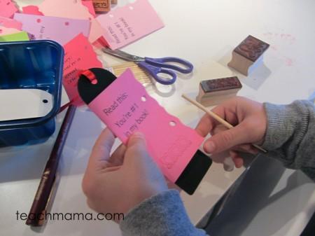 homemade bookmark valentines finish