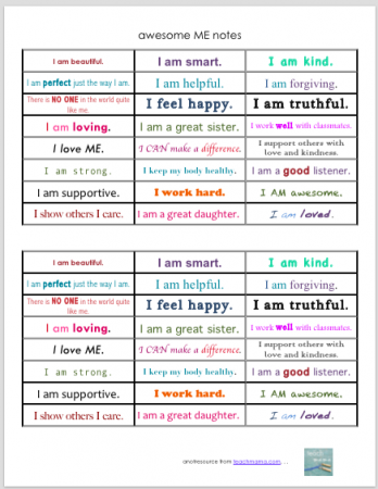 awesome me notes | teachmama.com