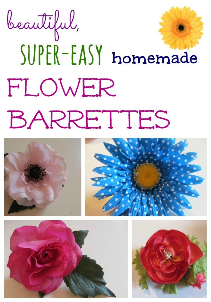 beautiful homemade flower barrettes