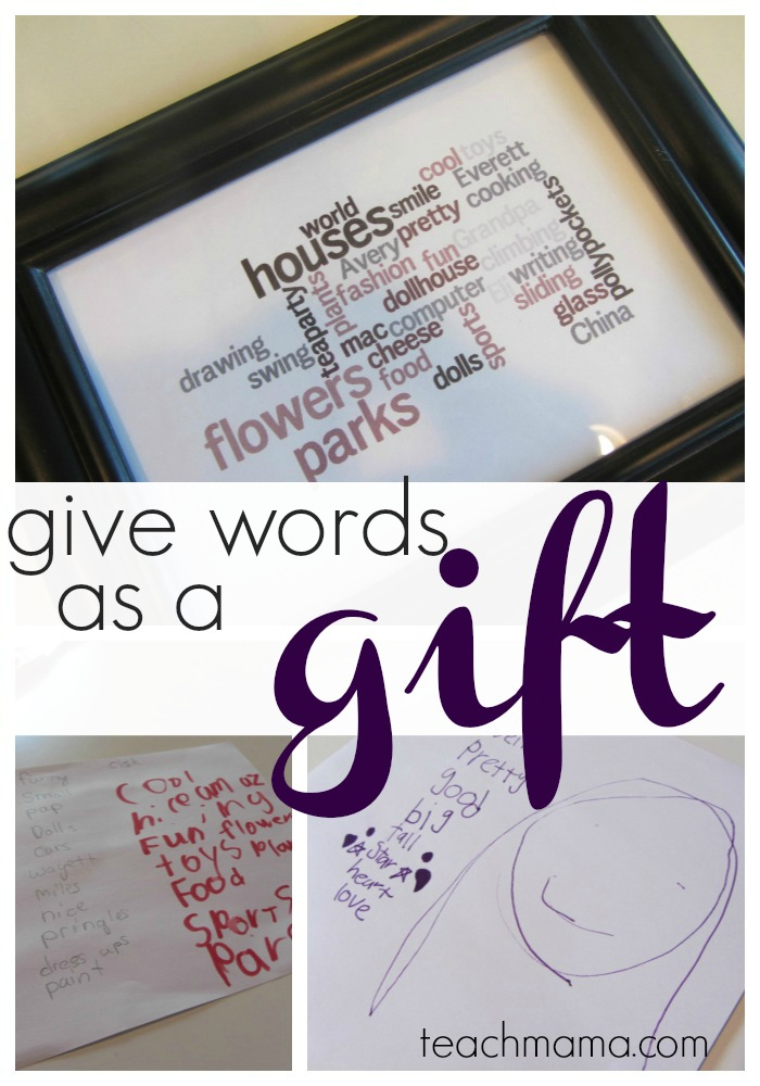 Give words as a gift word conscious kids use wordle teach mama playing with words negle Images