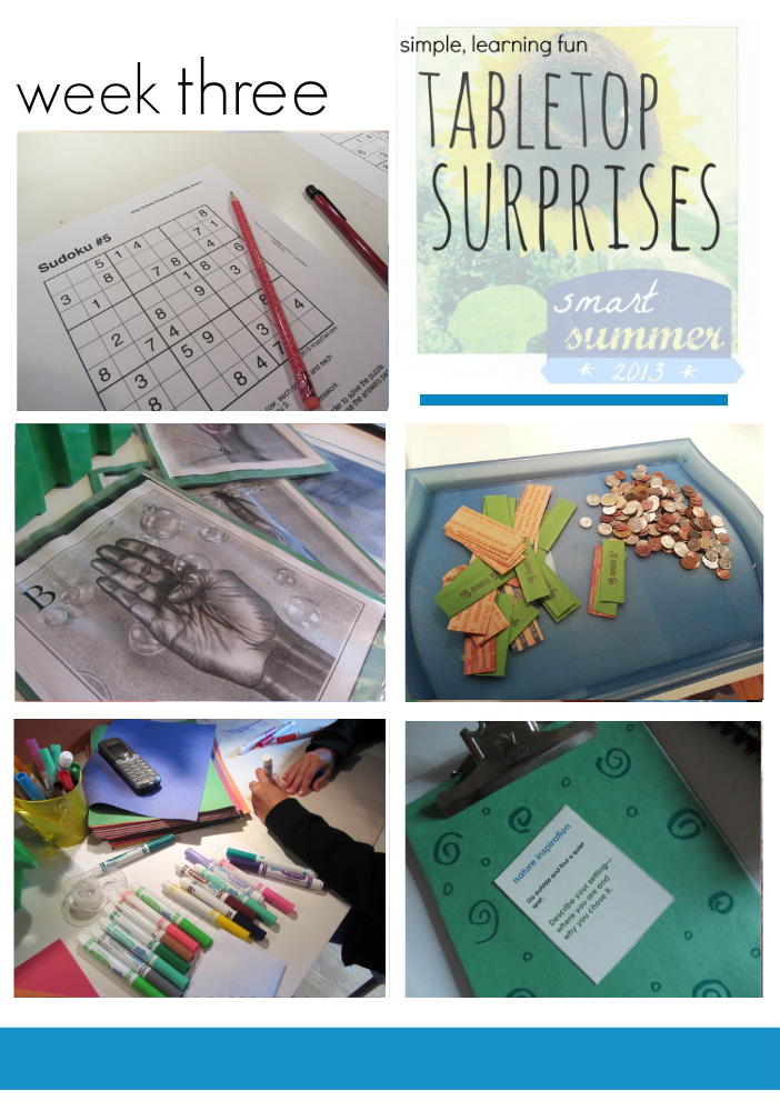 math, literacy, and creative summer learning: tabletop surprises