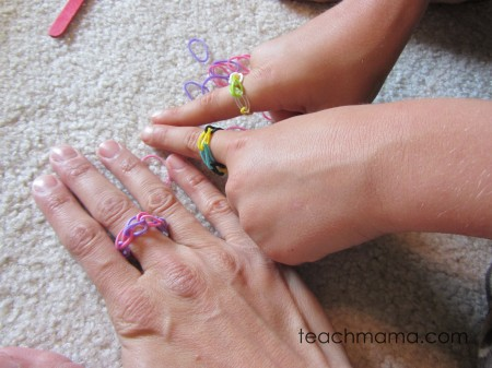 rainbow loom finished bracelets