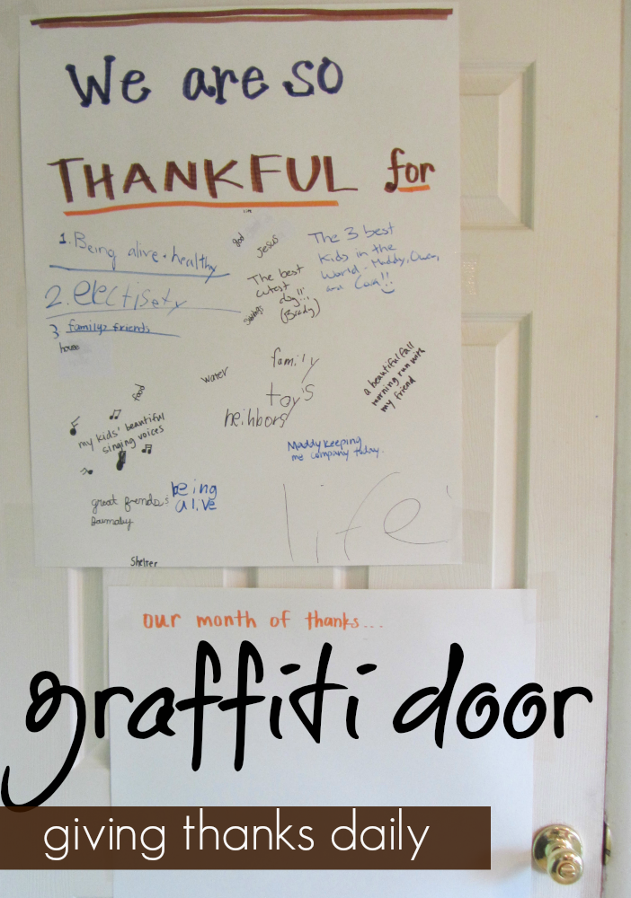 giving thanks daily graffiti door