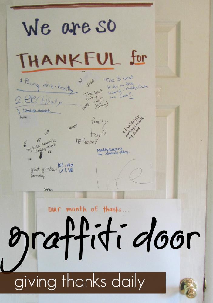giving thanks daily graffiti door