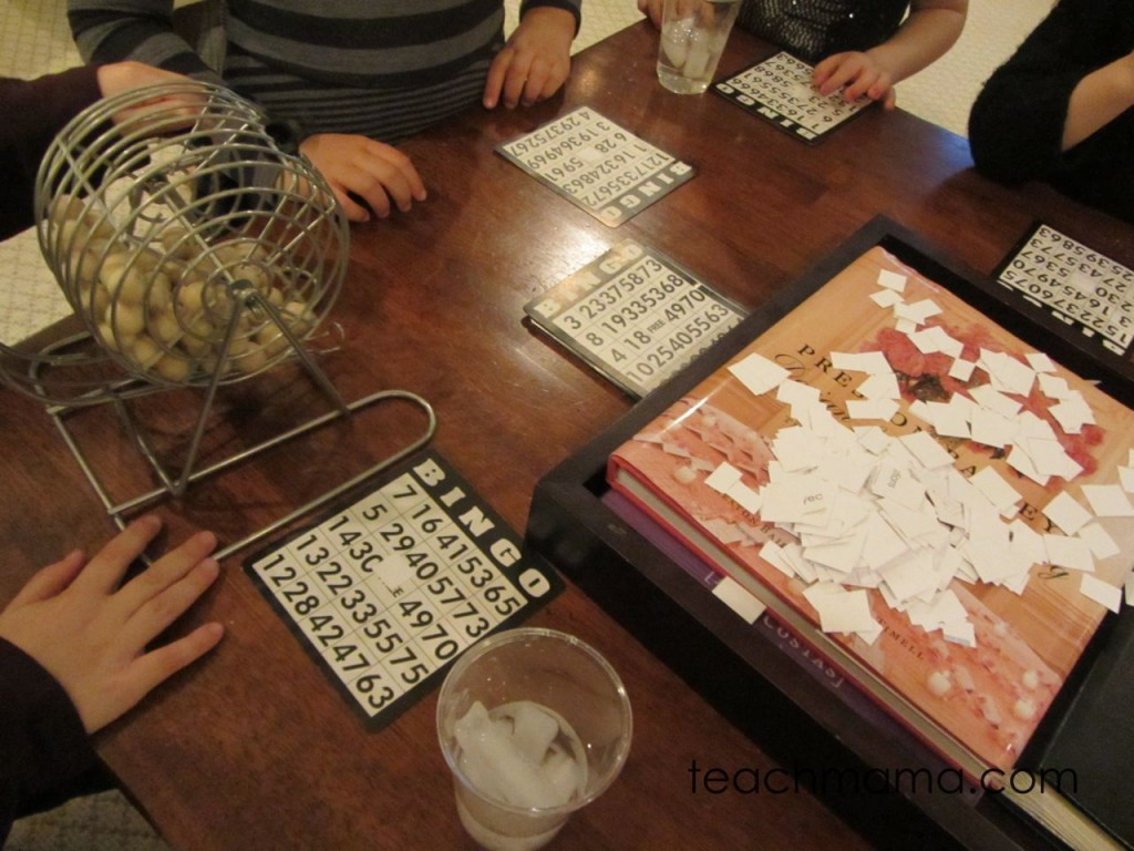 kids play bingo around a coffee table