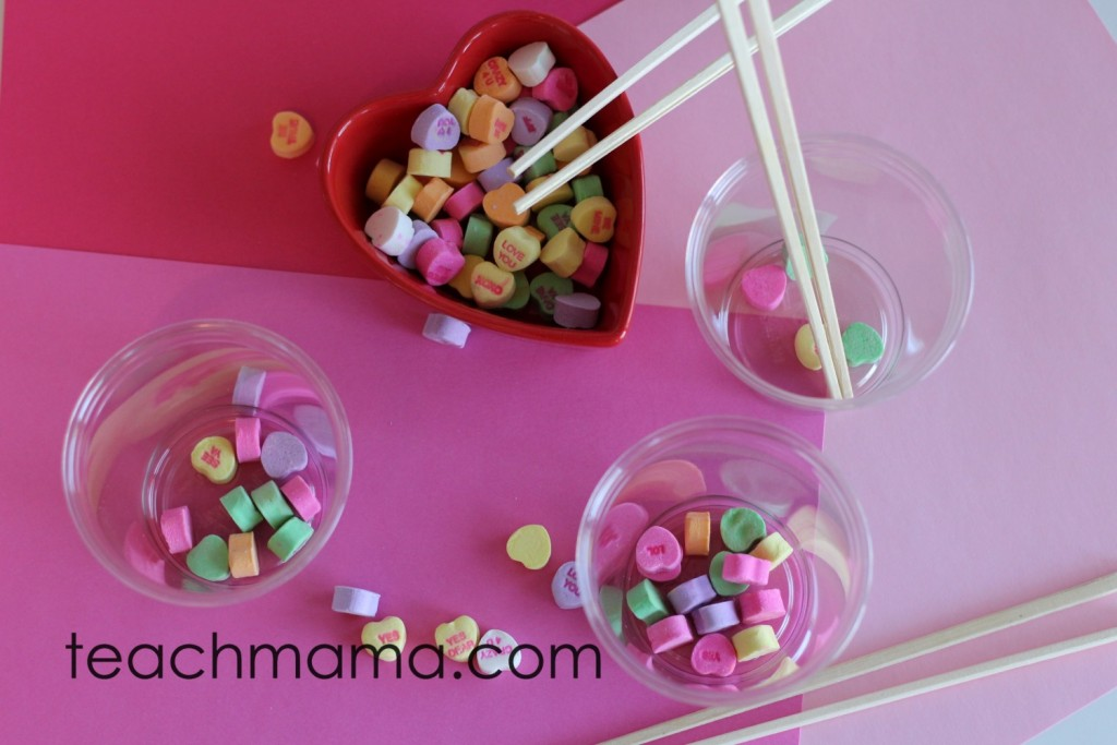 candy hearts in bowls