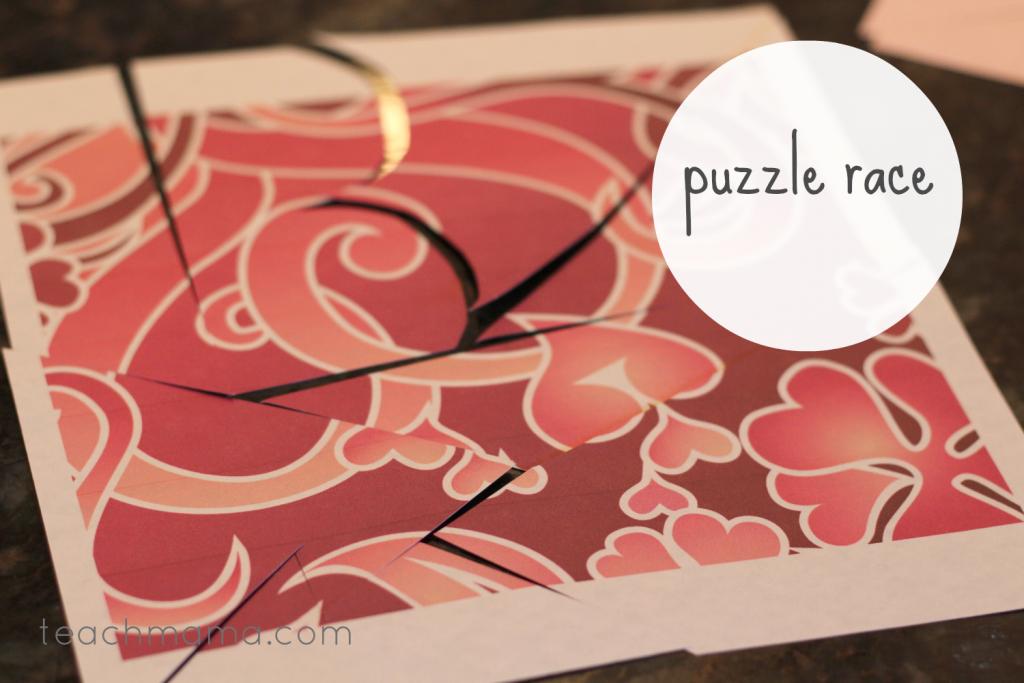 valentines day class party ideas heart puzzle race teachmama.com