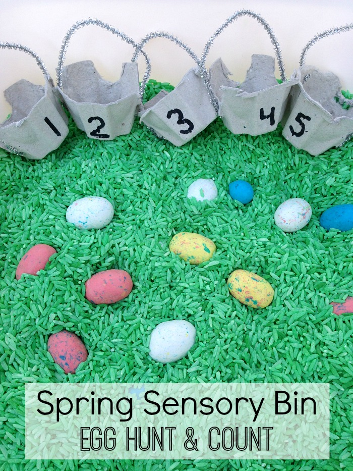 Spring Easter Sesnory Bin Egg Hunt and Count