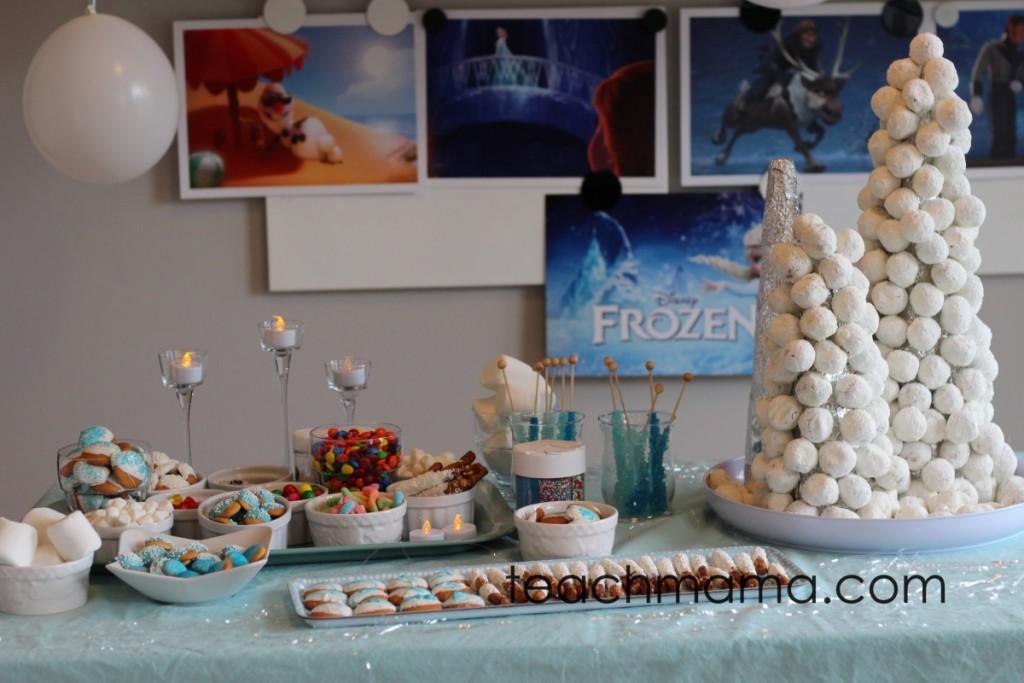 frozen birthday snacks on table