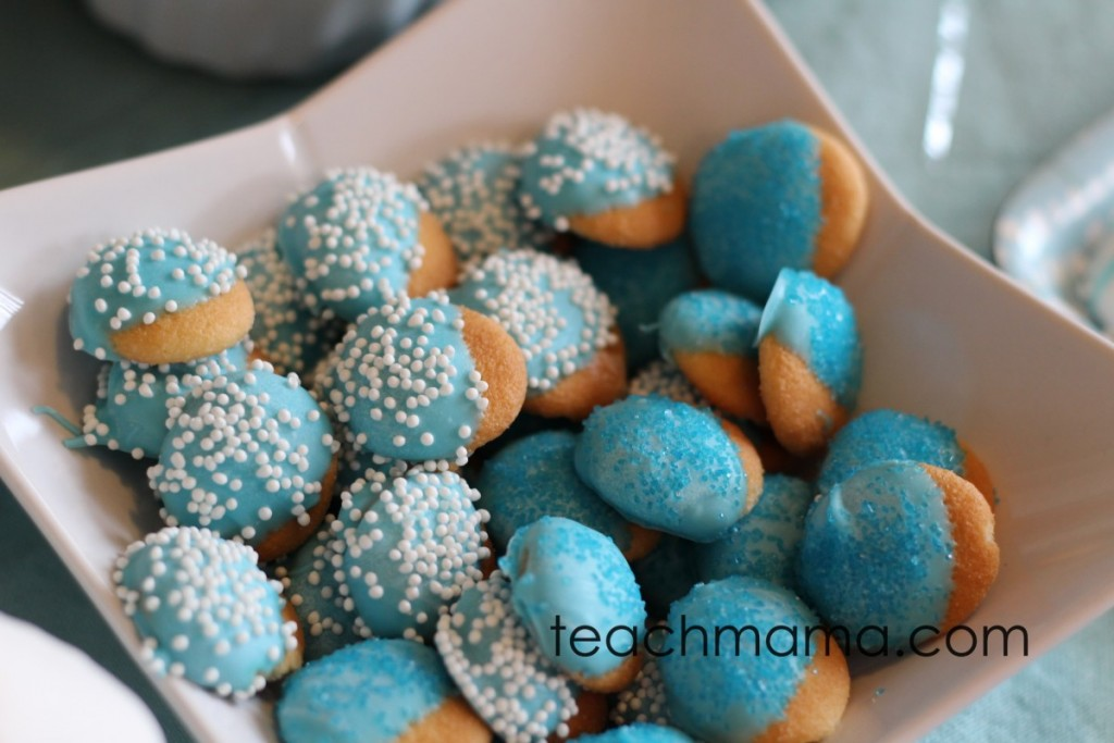 nilla wafers dipped in blue chocolate