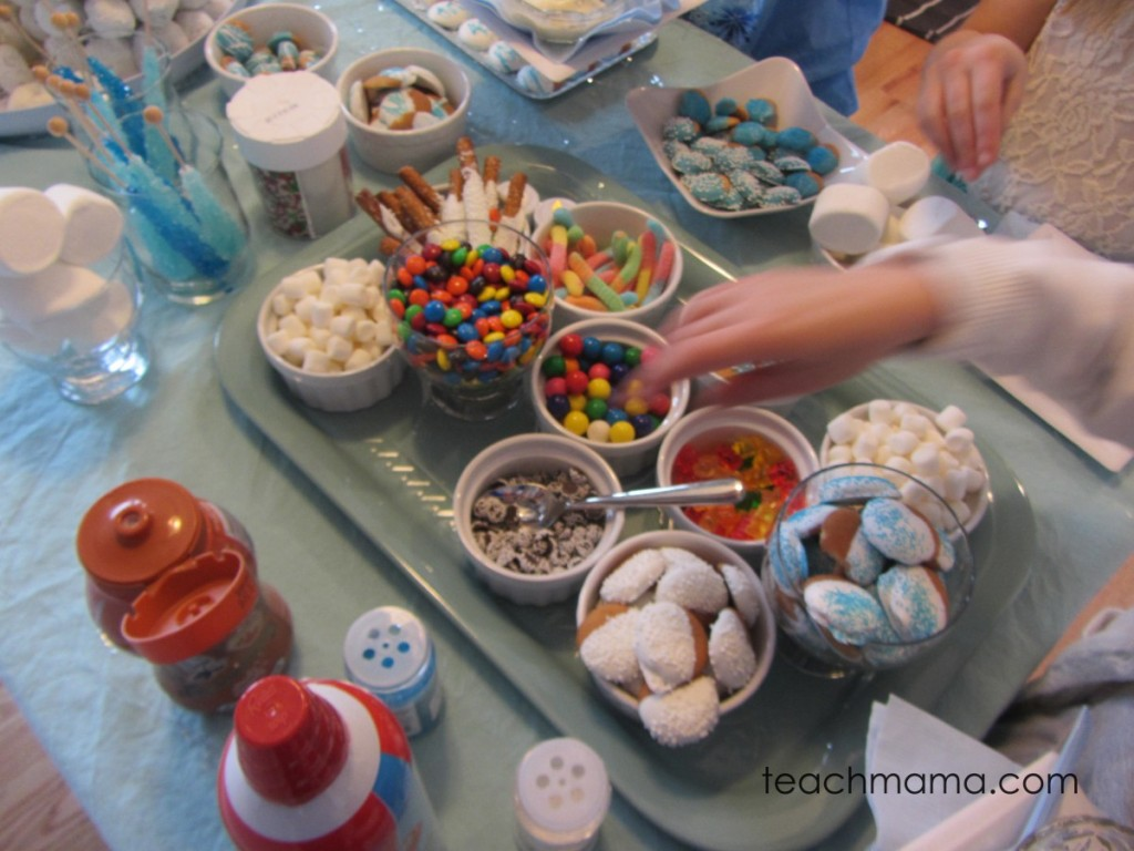 frozen birthday party candies on table