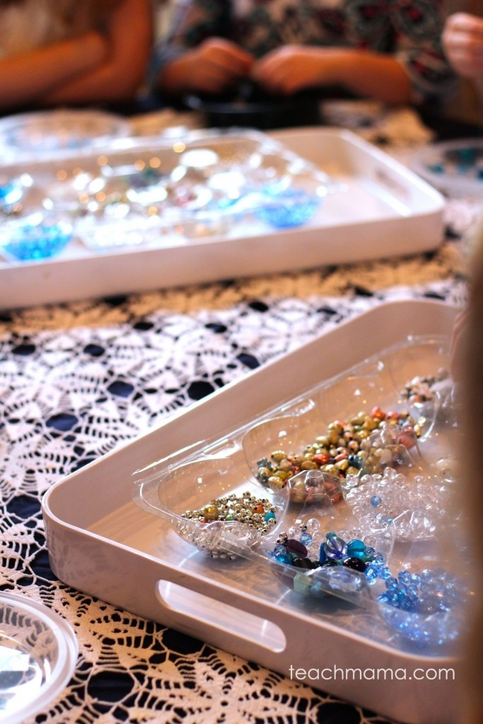 fancy blue and silver beads on trays