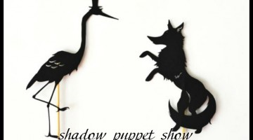 the fox and the crane: shadow puppets with printables