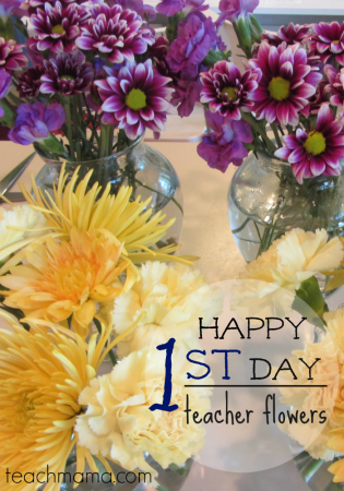 happy first day flowers for teachers, secretaries, or principal