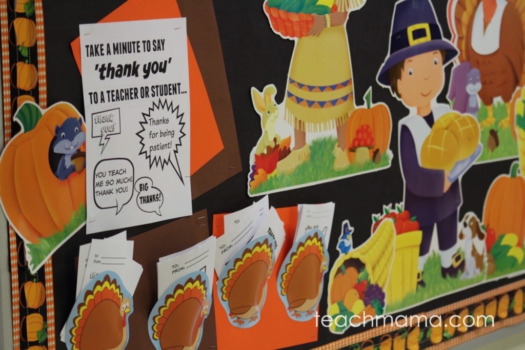 thankful bulletin board with pilgrim and turkeys