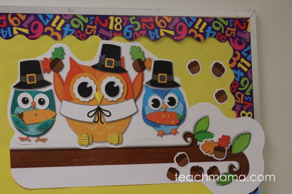 owls with pilgrim . hats on fall themed bulletin board