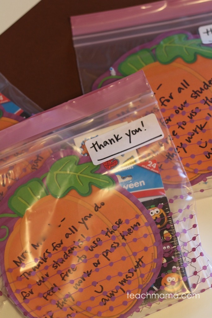 pumpkin thank you note with stickers in plastic bag