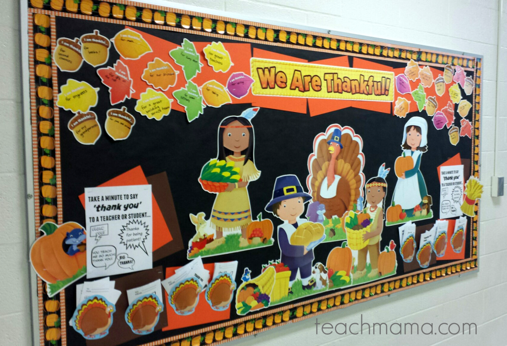 final 'we are thankful' bulletin board in classroom
