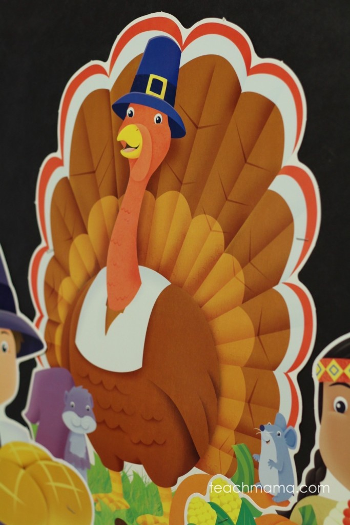 turkey with pilgrim hat on bulletin board