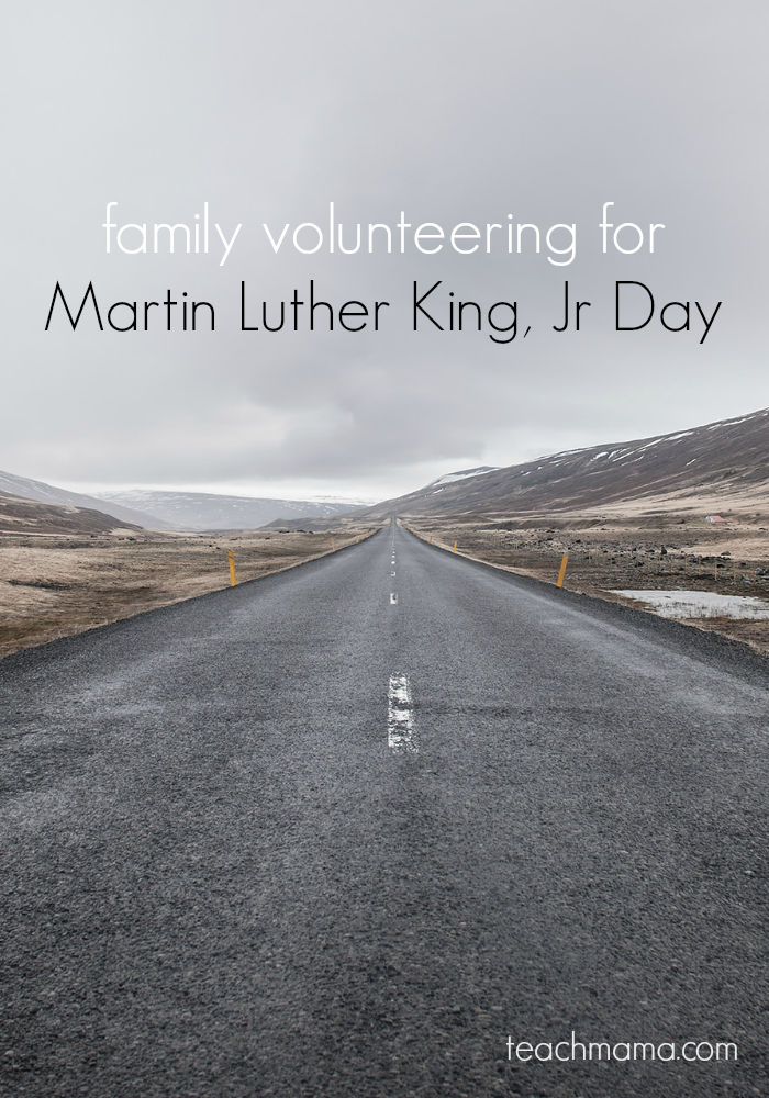 family volunteering on martin luther king, jr day