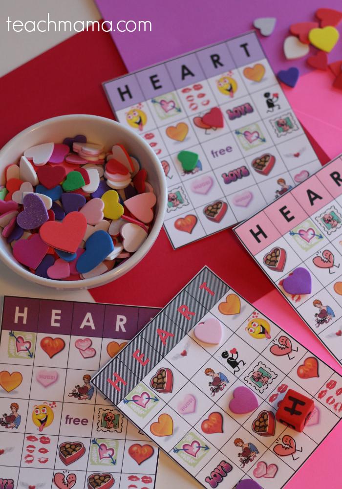 valentine heart bingo teachmama.com