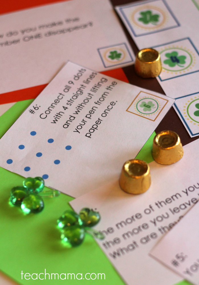 st. pattys day brain teaser scavenger hunt | teachmama.com