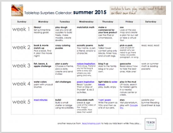 tabletop surprises calendar 2015 | teachmama.com