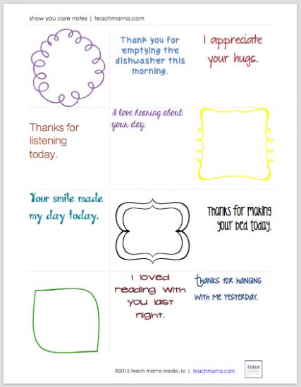 show you care notes | teachmama.com