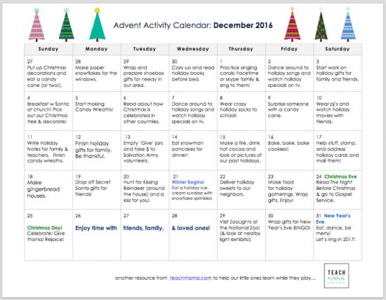 advent activity calendar 2016 teachmama.com_